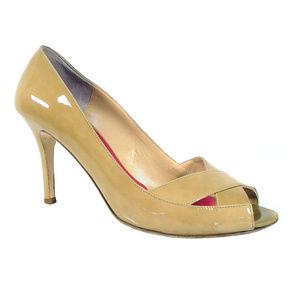 KATE SPADE $200 Tan Patent Leather Peep Toe Heels